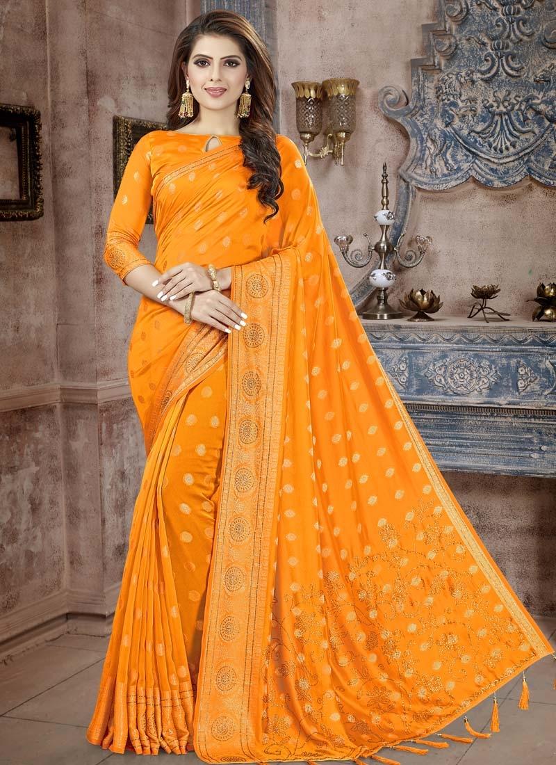 Crystal Work Banarasi Silk Designer Contemporary Style Saree