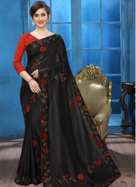 Crystal Work Contemporary Style Saree For Ceremonial