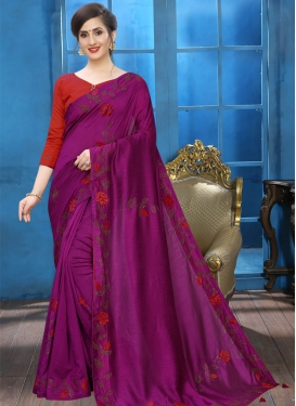 Crystal Work Designer Contemporary Style Saree