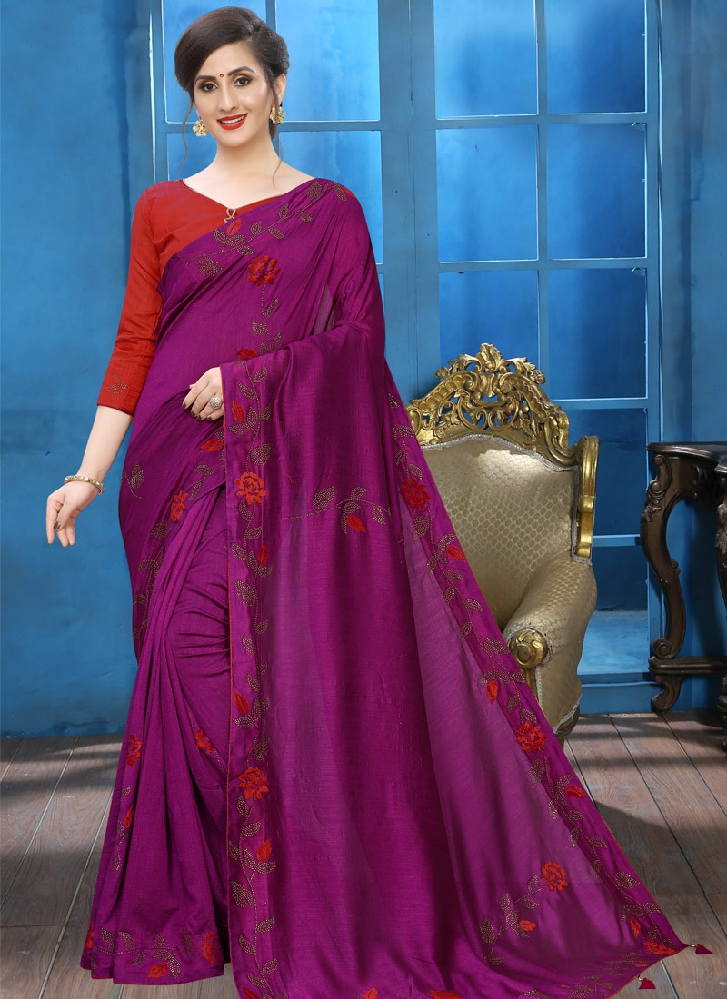 Crystal Work Designer Contemporary Style Saree