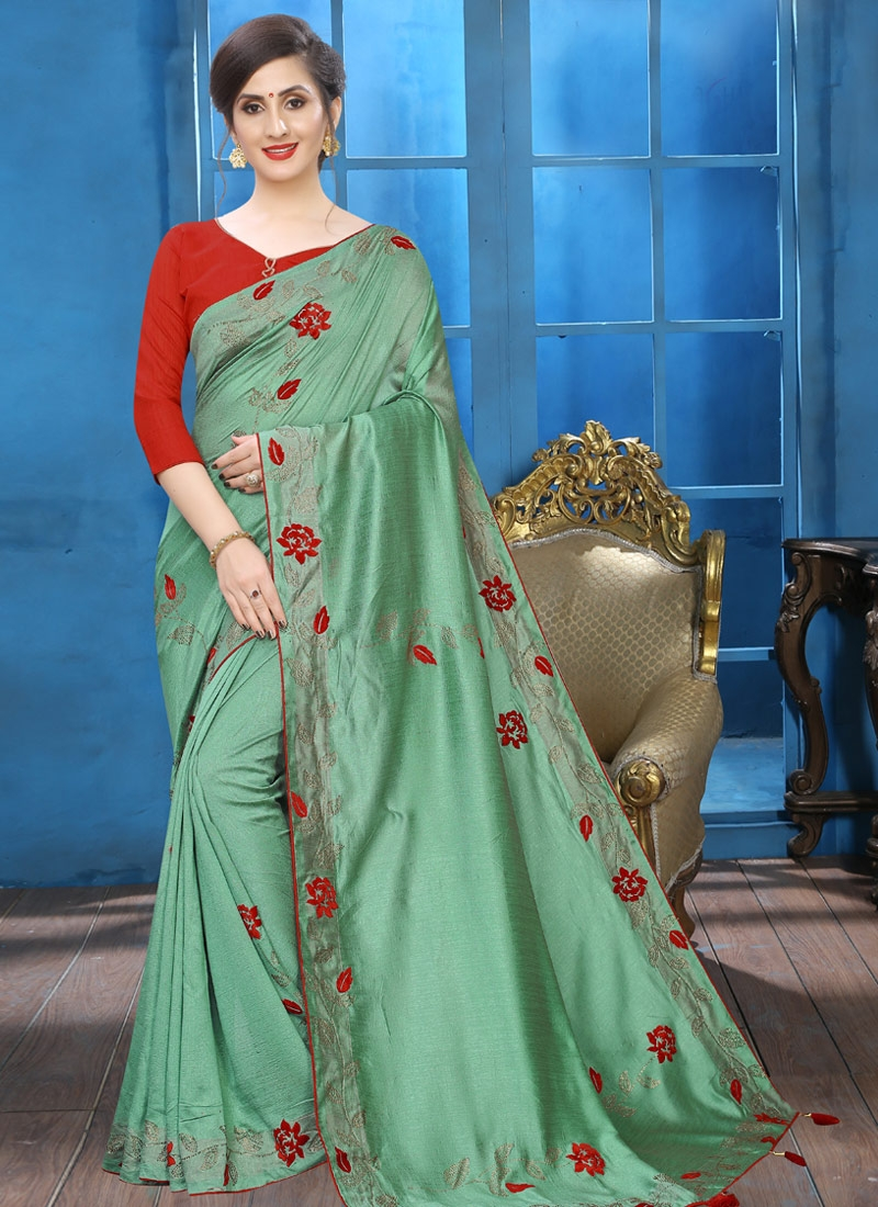 Crystal Work Traditional Saree For Ceremonial