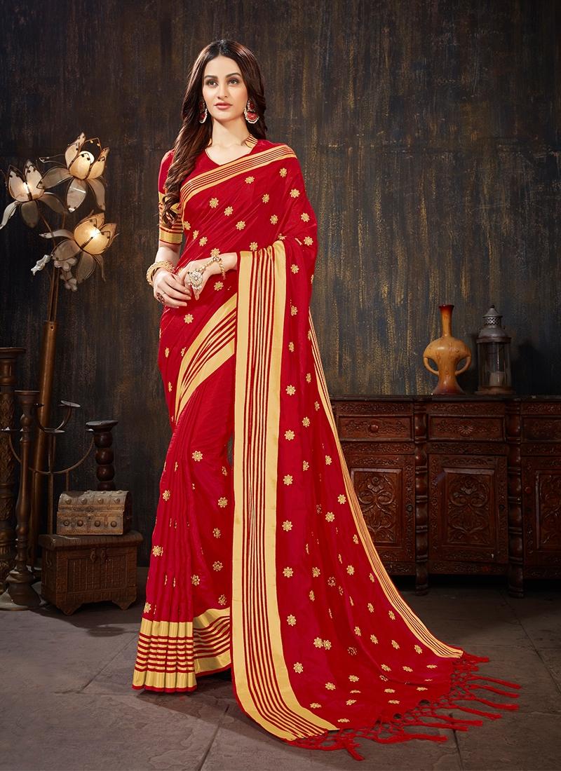 Customary Embroidered Casual Silk Saree
