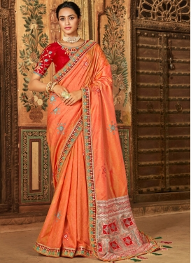 Customary Embroidered Classic Designer Saree