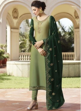 Customary Green Embroidered Pant Style Suit