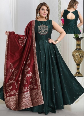 Cutdana Work Art Silk Readymade Floor Length Gown