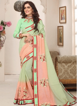 Cutdana Work Mint Green and Peach Contemporary Saree