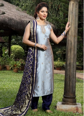 Cutdana Work Navy Blue and Silver Color Readymade Salwar Kameez