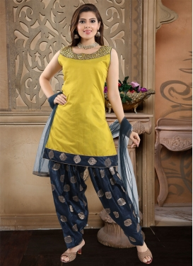 Cutdana Work Navy Blue and Yellow Readymade Salwar Suit