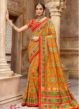 Cutdana Work Patola Silk Designer Traditional Saree For Bridal