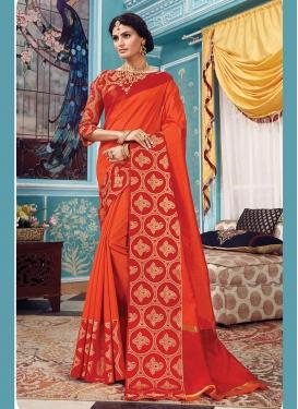 Cute Art Silk Orange Designer Traditional Saree