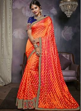 Cute Embroidered Art Silk Orange Classic Saree