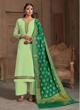 Cute Embroidered Georgette Satin Designer Straight Suit