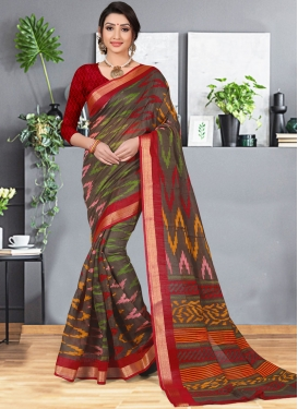 Dainty Cotton Silk Multi Colour Abstract Print Printed Saree