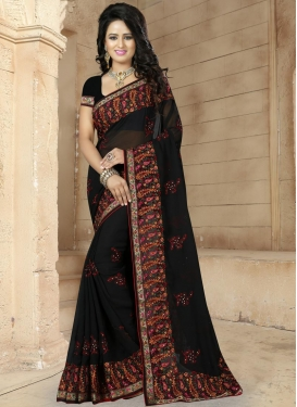 Dashing Embroidered Work Faux Georgette Contemporary Style Saree For Ceremonial