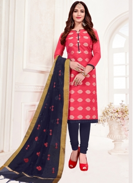 Dashing Jacquard Silk Rose Pink Print Churidar Suit