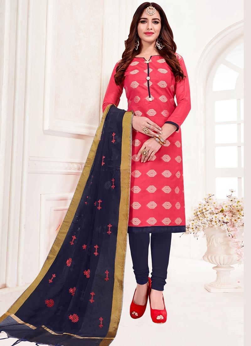 Dashing Jacquard Silk Rose Pink Print Churidar Suit