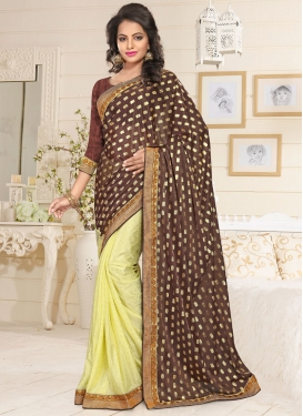 Delectable Lace Work Lycra Half N Half Trendy Saree For Reception