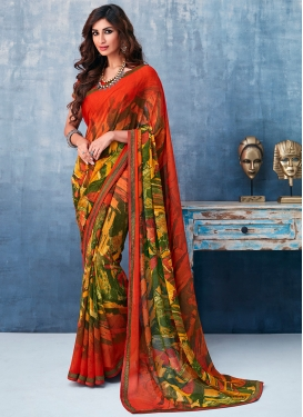 Delightful Faux Georgette Abstract Print Printed Saree