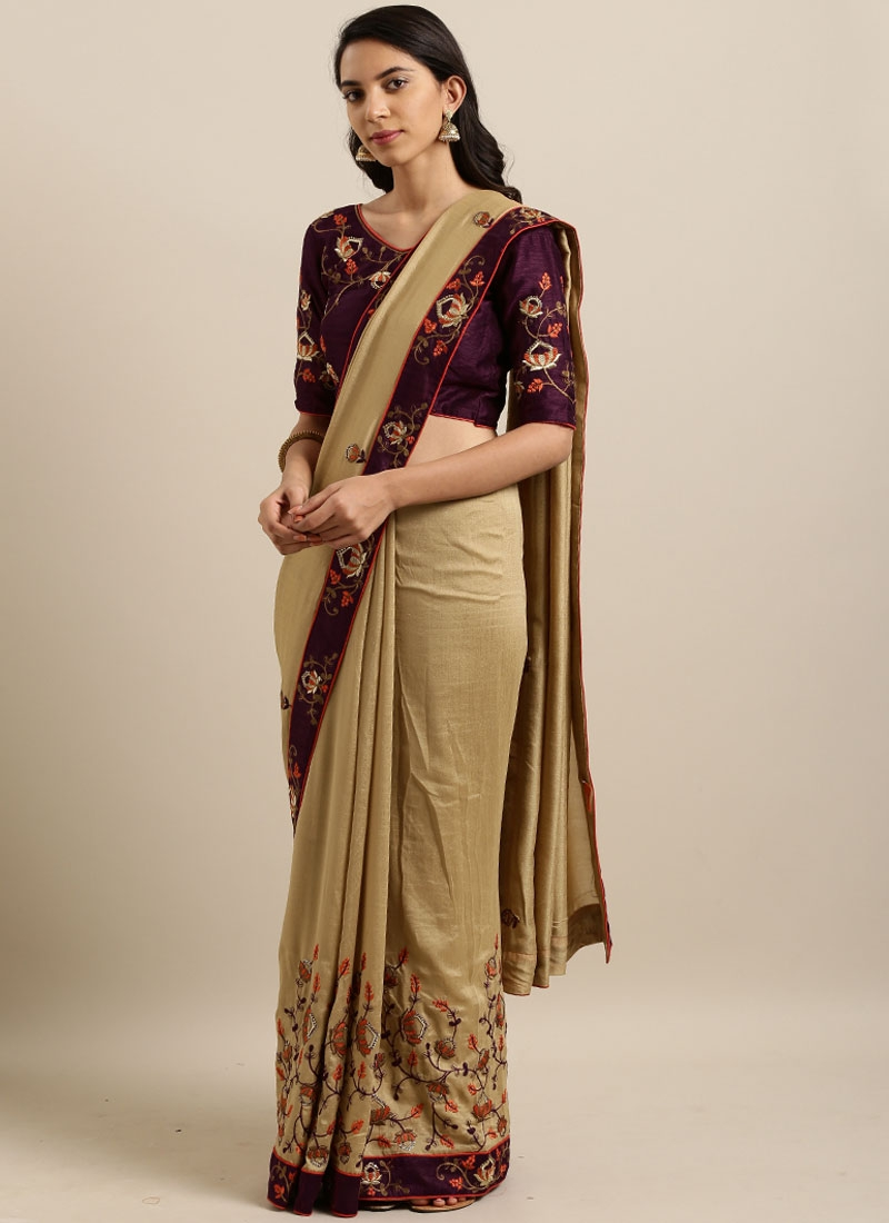 Delightsome Faux Georgette Beige Embroidered Classic Saree
