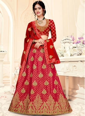 Delightsome Red Party Designer A Line Lehenga Choli