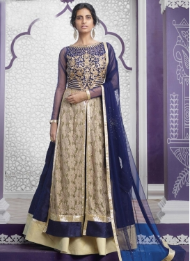 Demure Crystal Work Beige and Navy Blue Kameez Style Lehenga