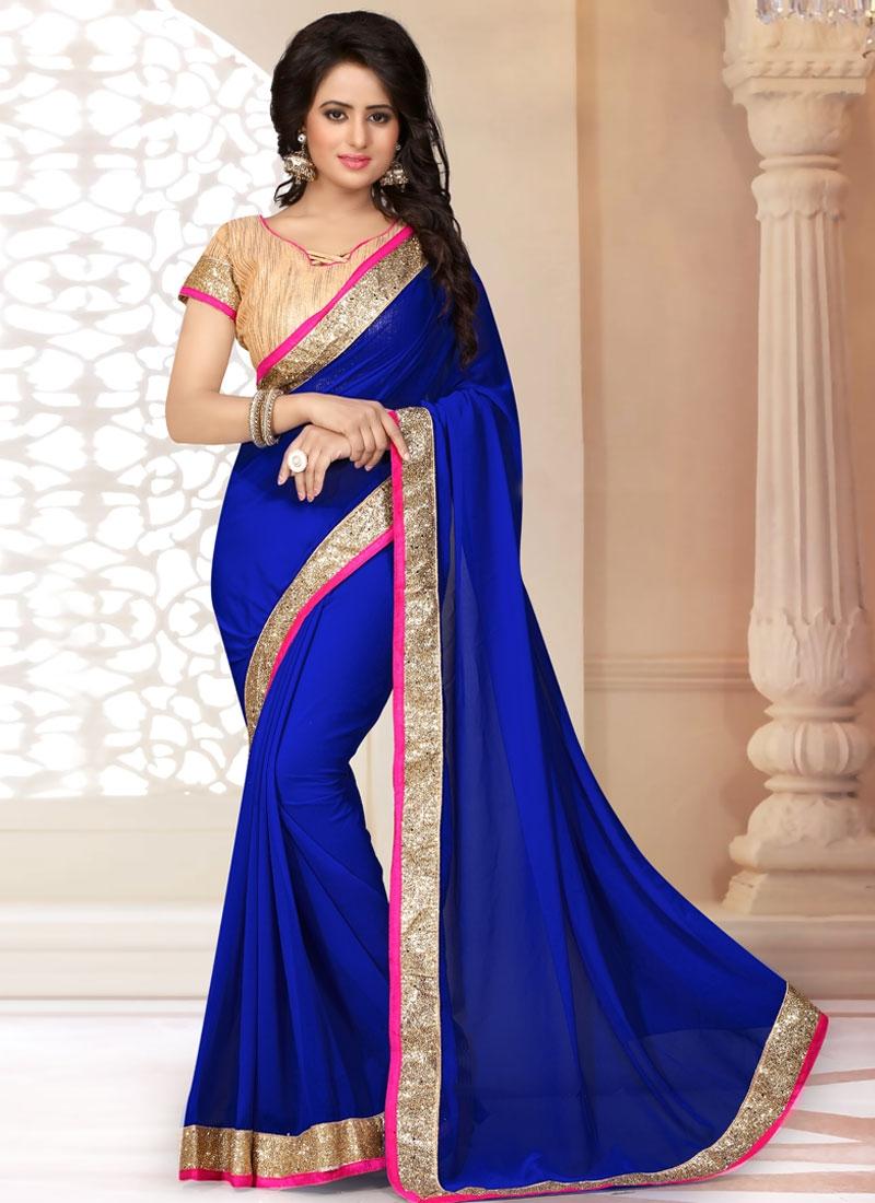 Deserving Blue Color Lace Work Casual Saree