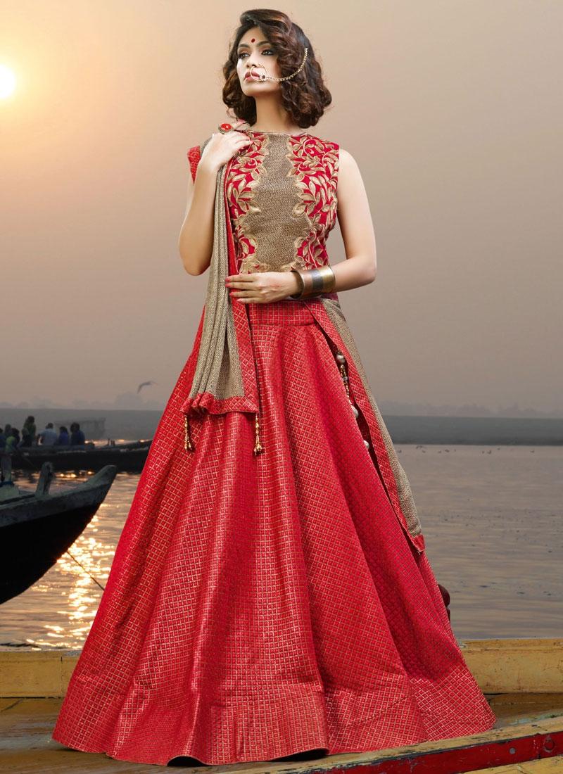 Deserving Red Jacquard Silk Trendy Long Choli Lehenga For Ceremonial