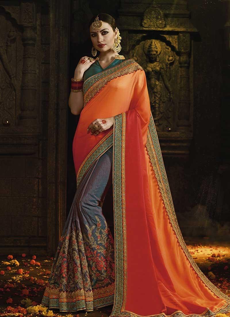 Designer Half N Half Saree For Bridal