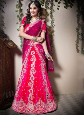 Designer Lehenga Choli Embroidered Velvet in Rose Pink