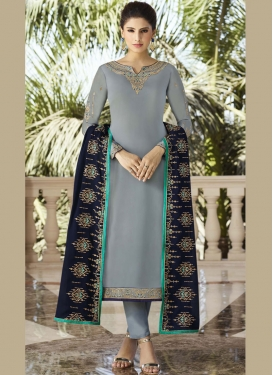 Designer Salwar Kameez Embroidered Georgette Satin in Grey