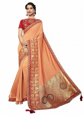 Designer Saree Embroidered Silk in Peach