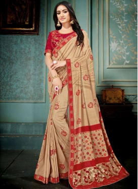 Designer Traditional Saree Embroidered Art Silk in Beige