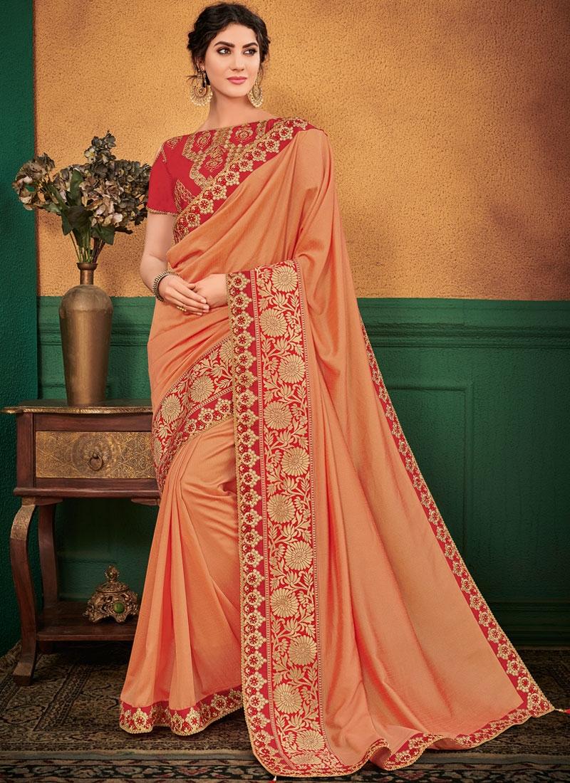 Designer Traditional Saree Embroidered Art Silk in Peach