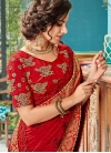 Designer Traditional Saree Embroidered Cotton Silk in Red - 1