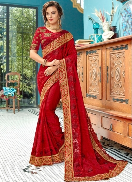 Designer Traditional Saree Embroidered Cotton Silk in Red