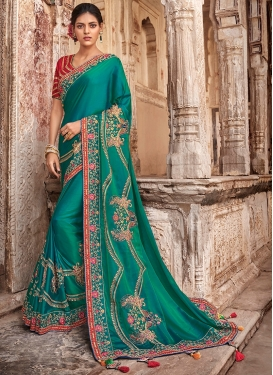Designer Traditional Saree Embroidered Satin Silk in Teal