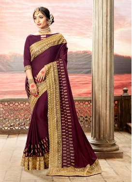 Designer Traditional Saree Patch Border Satin Silk in Wine