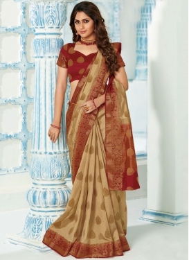 Designer Traditional Saree Weaving Art Silk in Beige