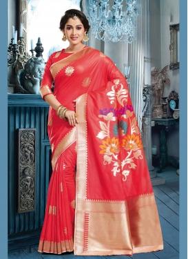 Desirable Red Weaving Art Silk Trendy Saree