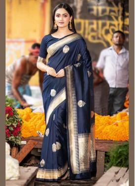 Desirable Weaving Navy Blue Designer Traditional Saree