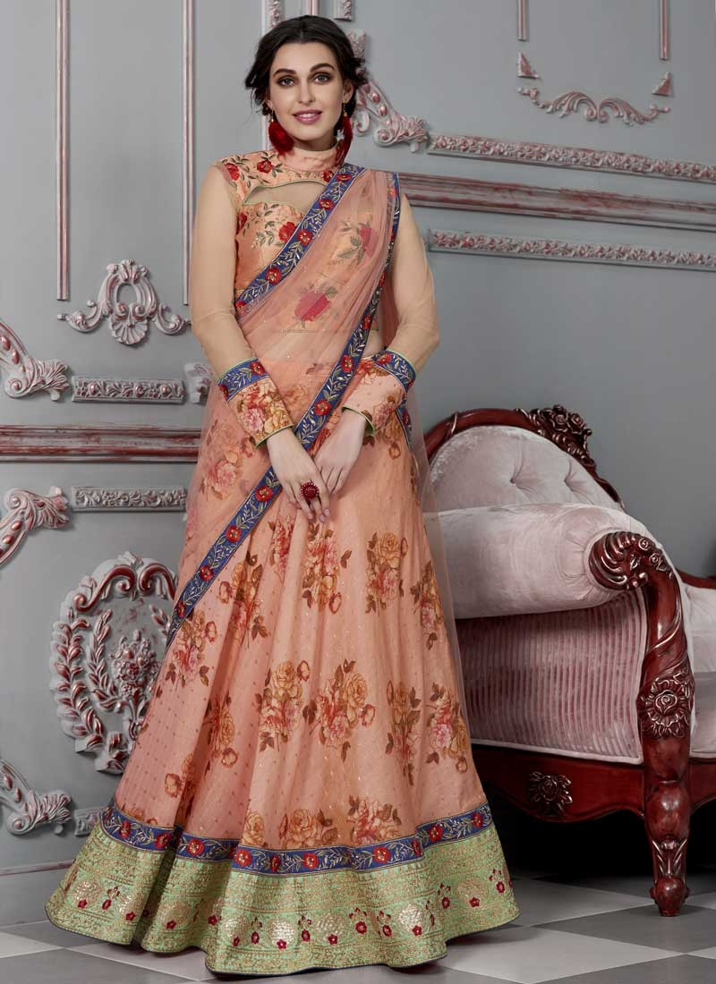 Digital Print Work A Line Lehenga Choli