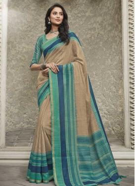 Digital Print Work Aqua Blue and Beige Traditional Designer Saree