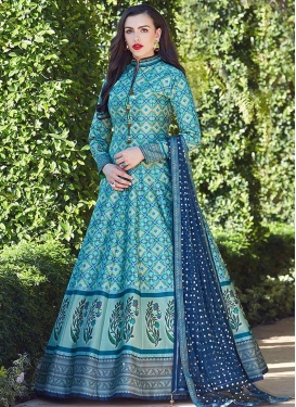 Digital Print Work Art Silk Aqua Blue and Light Blue Floor Length Gown