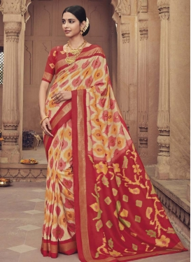 Digital Print Work Art Silk Beige and Red Traditional Designer Saree