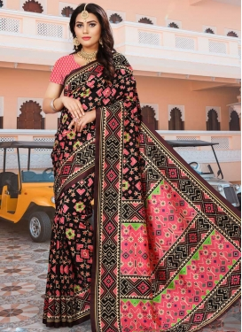Digital Print Work Art Silk Black and Hot Pink Designer Contemporary Saree