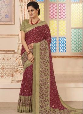 Digital Print Work Art Silk Classic Saree For Ceremonial