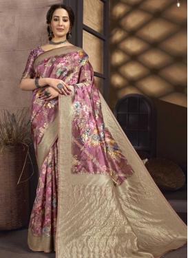 Digital Print Work Art Silk Designer Contemporary Saree For Ceremonial