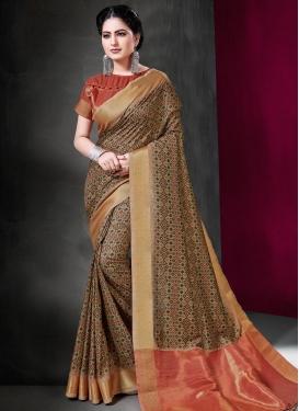 Digital Print Work Art Silk Traditional Designer Saree For Ceremonial