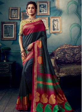 Digital Print Work Art Silk Traditional Saree