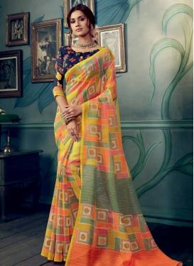 Digital Print Work Art Silk Trendy Saree